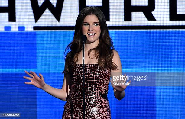 Actress Anna Kendrick speaks onstage during the 2015 American Music Awards at Microsoft Theater on November 22 2015 in Los Angeles California