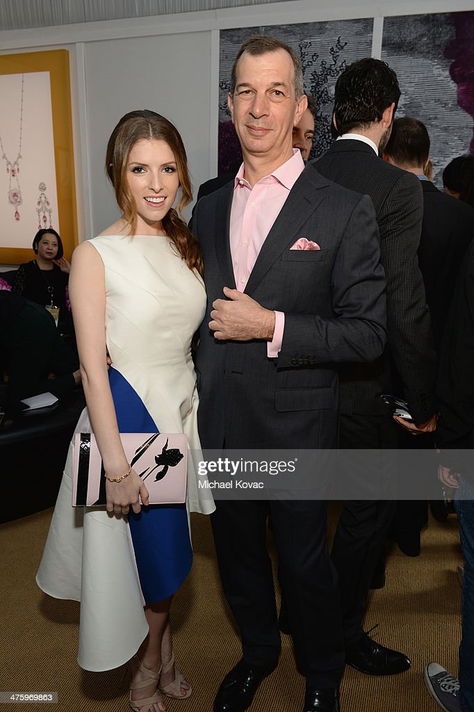 Actress Anna Kendrick, wearing Piaget, and CEO of Piaget Philippe Leopold-Metzger pose in the Piaget Lounge during the 2014 Film Independent Spirit Awards at Santa Monica Beach on March 1, 2014 in Santa Monica, California.