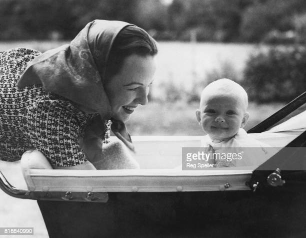 Actress Anna Lee wife of director Robert Stevenson with their daughter Venetia Stevenson at their Hampshire home UK 3rd August 1938