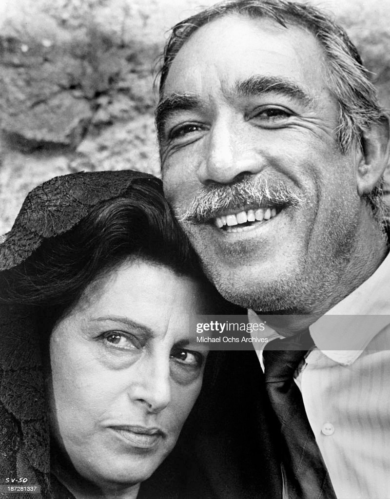 Actress Anna Magnani and actor Anthony Quinn on set of the United Artist movie 'The Secret of Santa Vittoria' in 1969