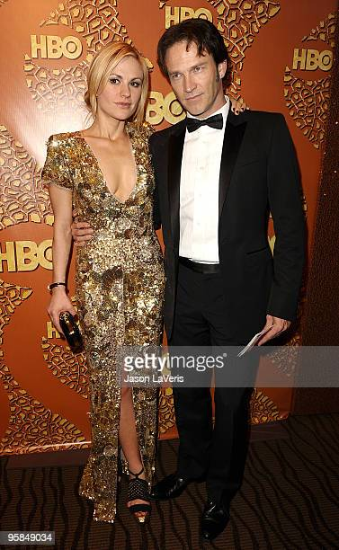 Actress Anna Paquin and actor Stephen Moyer attend the official HBO after party for the 67th annual Golden Globe Awards at Circa 55 Restaurant at the...