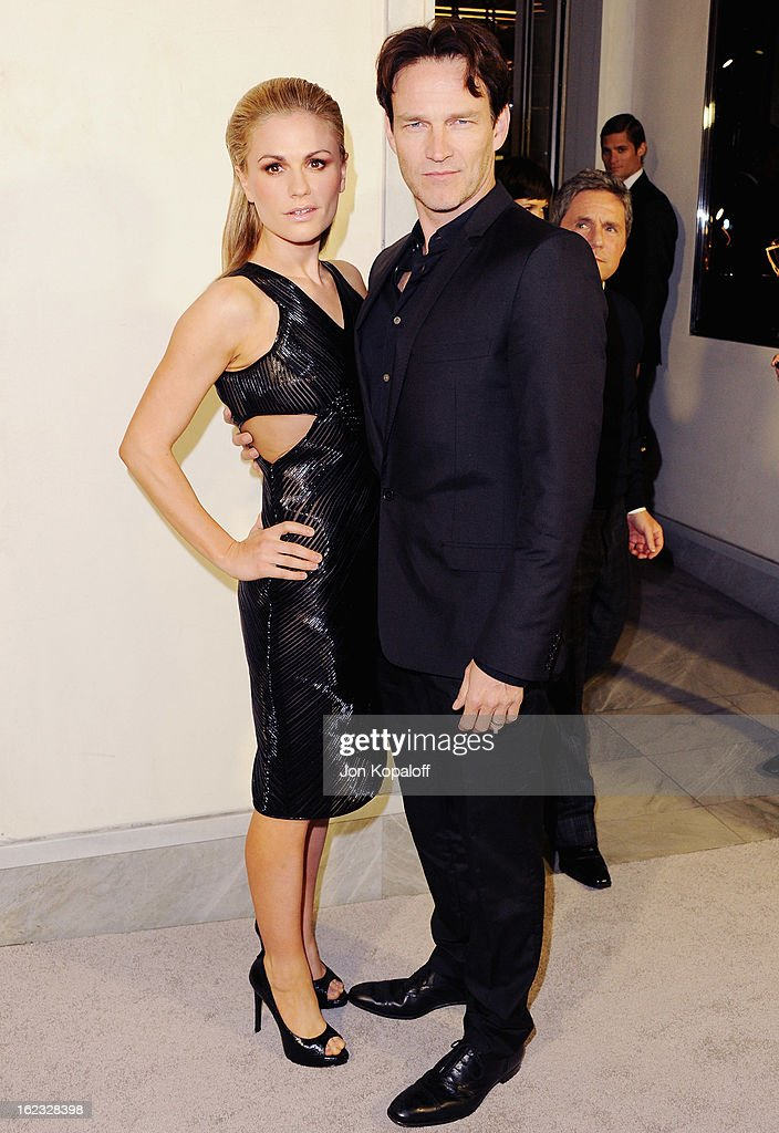 Actress <a gi-track='captionPersonalityLinkClicked' href=/galleries/search?phrase=Anna+Paquin&family=editorial&specificpeople=211602 ng-click='$event.stopPropagation()'>Anna Paquin</a> and husband <a gi-track='captionPersonalityLinkClicked' href=/galleries/search?phrase=Stephen+Moyer&family=editorial&specificpeople=4323688 ng-click='$event.stopPropagation()'>Stephen Moyer</a> arrive at Tom Ford Cocktails In Support Of Project Angel Food Media at TOM FORD on February 21, 2013 in Beverly Hills, California.