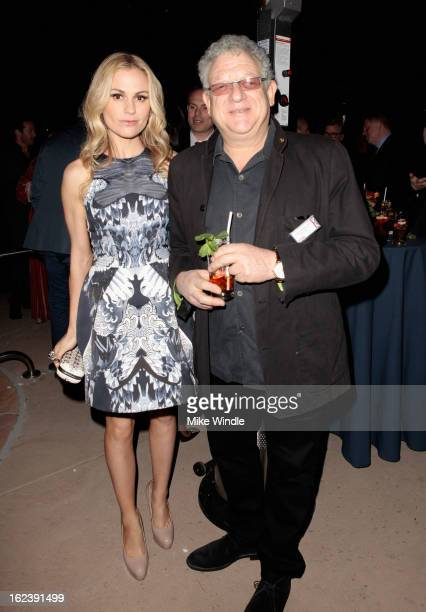 Actress Anna Paquin and producer Jeremy Thomas attend the GREAT British Film Reception at British Consul General's Residence on February 22 2013 in...