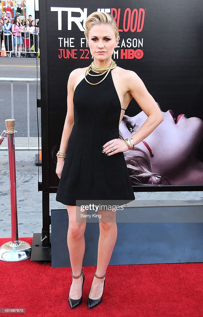 Actress <a gi-track='captionPersonalityLinkClicked' href=/galleries/search?phrase=Anna+Paquin&family=editorial&specificpeople=211602 ng-click='$event.stopPropagation()'>Anna Paquin</a> arrives at HBO's 'True Blood' Final Season Premiere on June 17, 2014 at TCL Chinese Theatre in Hollywood, California.