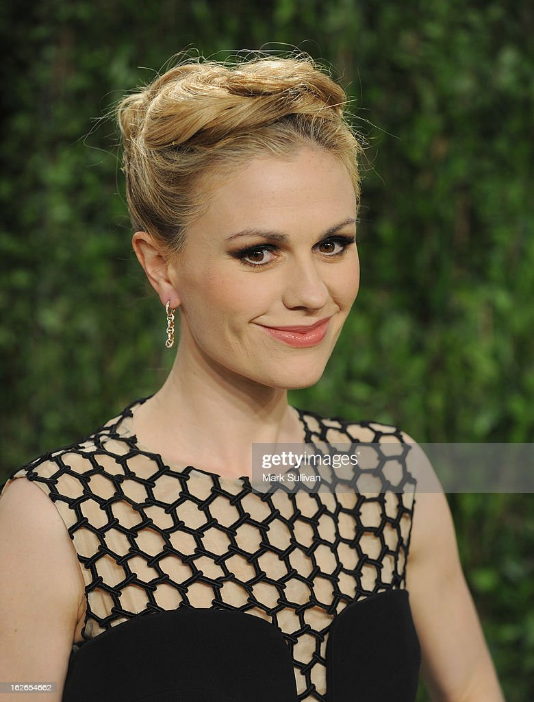 Actress Anna Paquin arrives at the 2013 Vanity Fair Oscar Party at Sunset Tower on February 24, 2013 in West Hollywood, California.