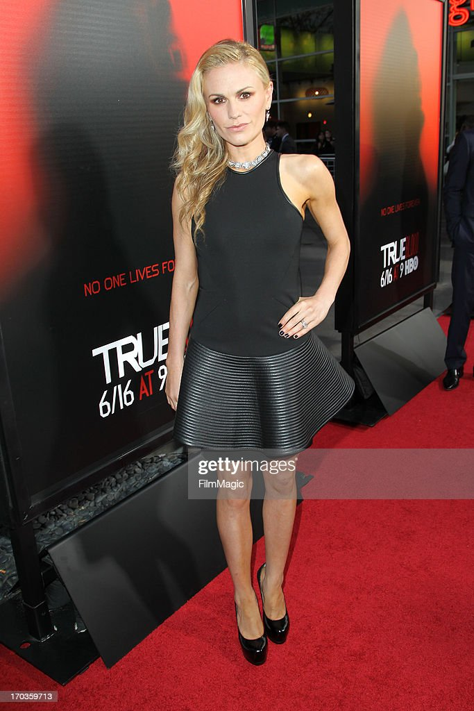 Actress <a gi-track='captionPersonalityLinkClicked' href=/galleries/search?phrase=Anna+Paquin&family=editorial&specificpeople=211602 ng-click='$event.stopPropagation()'>Anna Paquin</a> attends HBO's 'True Blood' season 6 premiere at ArcLight Cinemas Cinerama Dome on June 11, 2013 in Hollywood, California.