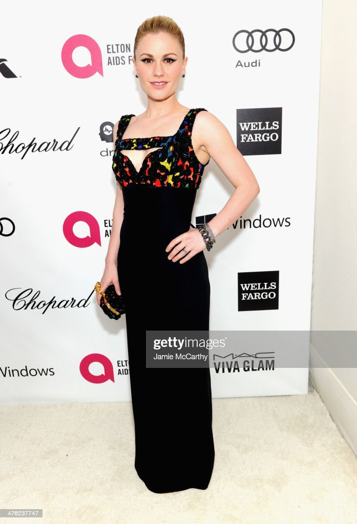 Actress Anna Paquin attends the 22nd Annual Elton John AIDS Foundation Academy Awards Viewing Party at The City of West Hollywood Park on March 2...