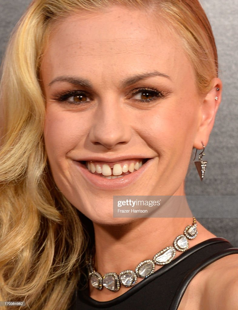 Actress <a gi-track='captionPersonalityLinkClicked' href=/galleries/search?phrase=Anna+Paquin&family=editorial&specificpeople=211602 ng-click='$event.stopPropagation()'>Anna Paquin</a> attends the premiere of HBO's 'True Blood' Season 6 at ArcLight Cinemas Cinerama Dome on June 11, 2013 in Hollywood, California.