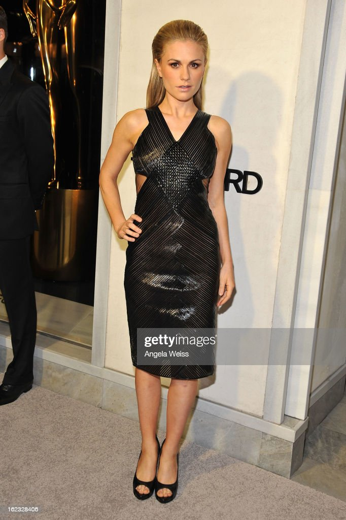 Actress Anna Paquin attends the Tom Ford cocktail event in support of Project Angel Food at TOM FORD on February 21, 2013 in Beverly Hills, California.