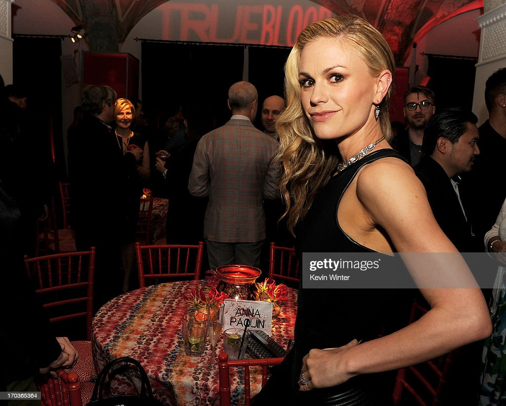 Actress Anna Paquin poses at the after party for the premiere of HBO's 'True Blood' at the Social Club on June 11, 2013 in Los Angeles, California.