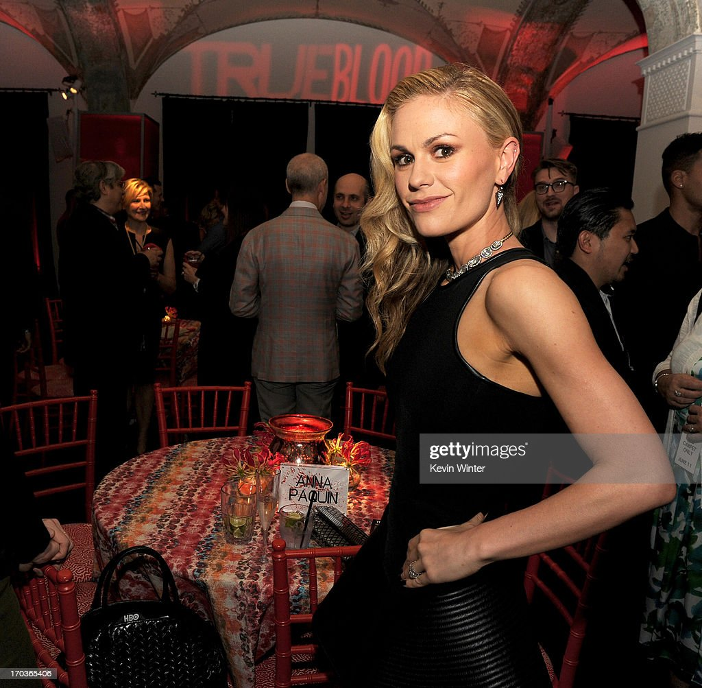 Actress <a gi-track='captionPersonalityLinkClicked' href=/galleries/search?phrase=Anna+Paquin&family=editorial&specificpeople=211602 ng-click='$event.stopPropagation()'>Anna Paquin</a> poses at the after party for the premiere of HBO's 'True Blood' at the Social Club on June 11, 2013 in Los Angeles, California.