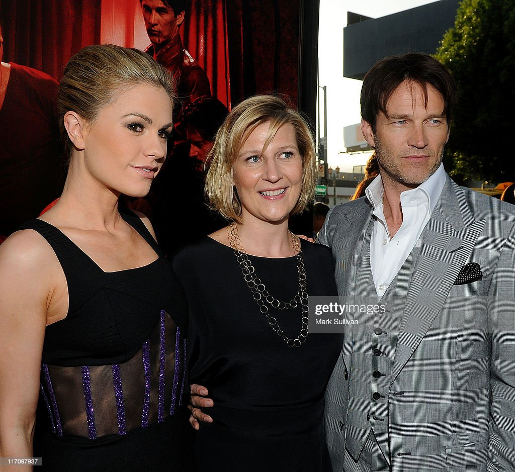 Actress <a gi-track='captionPersonalityLinkClicked' href=/galleries/search?phrase=Anna+Paquin&family=editorial&specificpeople=211602 ng-click='$event.stopPropagation()'>Anna Paquin</a>, President of HBO Entertainment Sue Neagle and actor <a gi-track='captionPersonalityLinkClicked' href=/galleries/search?phrase=Stephen+Moyer&family=editorial&specificpeople=4323688 ng-click='$event.stopPropagation()'>Stephen Moyer</a> arrive on the red carpet for HBO's 'True Blood' season 4 premiere at The Dome at Arclight Hollywood on June 21, 2011 in Hollywood, California.