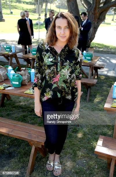 Actress Anna Schafer attends Caruso hosts a community garden in honor of Earth Day in partnership with Environmental Media Association Kellogg Garden...