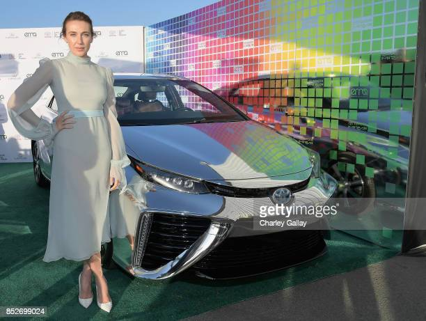 Actress Anna Schafer poses with the Toyora Mirai the zero emissions car during the 2017 EMA Awards Presented by Toyota on September 23 2017 in Santa...