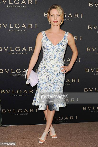 Actress Annabelle Wallis arrives at BVLGARI 'Decades Of Glamour' Oscar Party Hosted By Naomi Watts at Soho House on February 25 2014 in West...