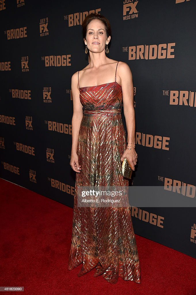 Actress <a gi-track='captionPersonalityLinkClicked' href=/galleries/search?phrase=Annabeth+Gish&family=editorial&specificpeople=549650 ng-click='$event.stopPropagation()'>Annabeth Gish</a> attends the premiere of FX's 'The Bridge' at Pacific Design Center on July 7, 2014 in West Hollywood, California.