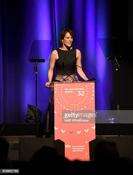 Actress Annabeth Gish speaks onstage at the 32nd Annual IDA Documentary Awards at Paramount Studios on December 9 2016 in Hollywood California