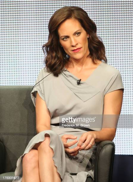 Actress Annabeth Gish speaks onstage during 'The Bridge' panel discussion at the FX portion of the 2013 Summer Television Critics Association tour...