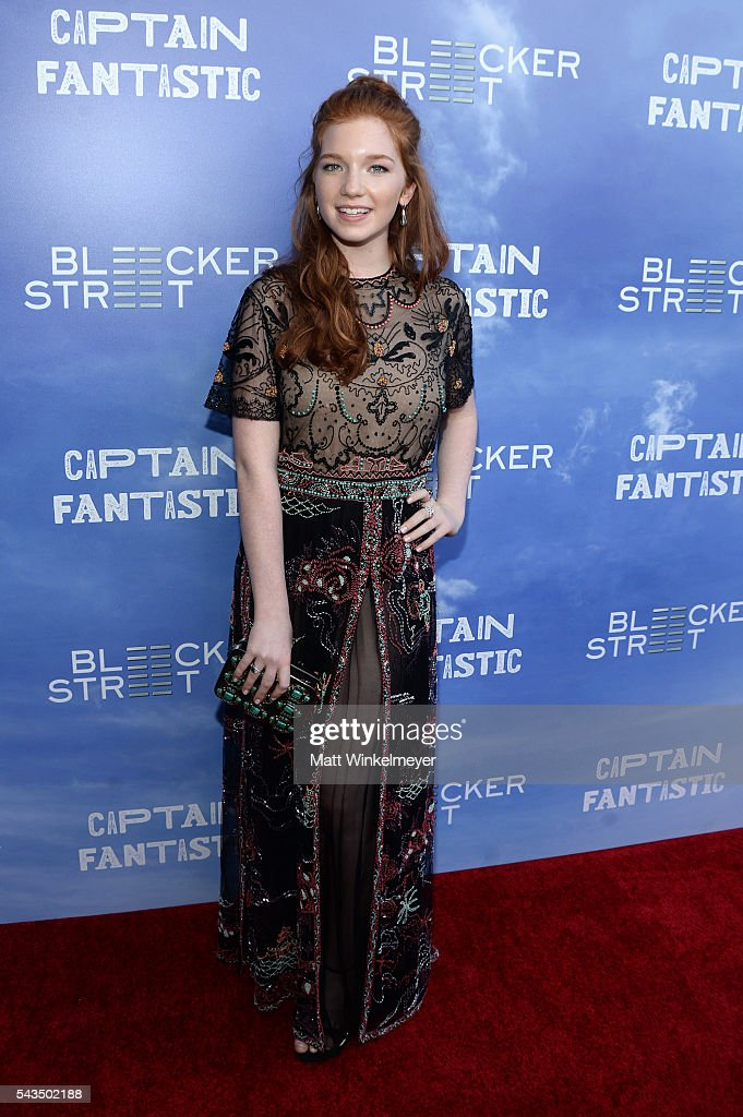 Actress Annalise Basso attends the premiere of Bleecker Street Media's 'Captain Fantastic' at Harmony Gold on June 28, 2016 in Los Angeles, California.