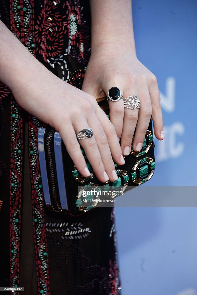 Actress Annalise Basso purse detail attends the premiere of Bleecker Street Media's 'Captain Fantastic' at Harmony Gold on June 28 2016 in Los...