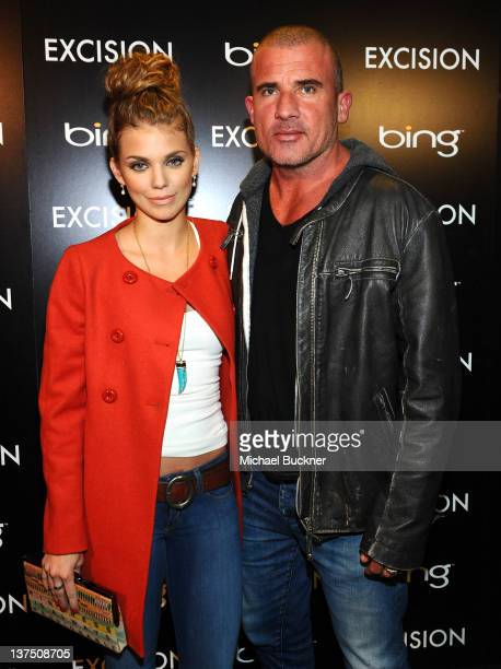 Actress AnnaLynne McCord and actor Dominic Purcell attend the 'Excision' Official Cast and Filmmakers Dinner presented by Bing at the Bing Bar on...
