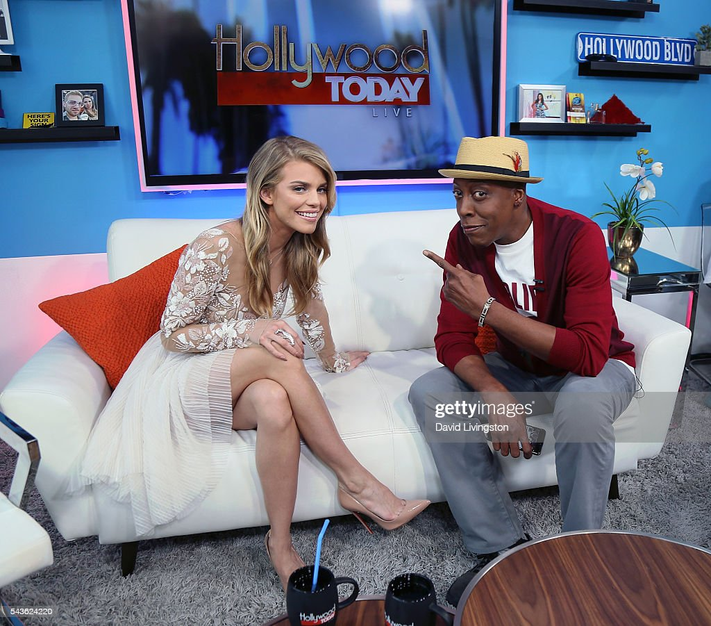 Actress AnnaLynne McCord (L) and comedian Arsenio Hall visit Hollywood Today Live at W Hollywood on June 29, 2016 in Hollywood, California.