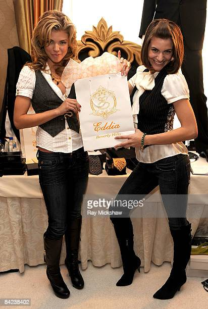Actress AnnaLynne McCord and sister Rachel McCord pose with the Eddia Beverly Hills Men's Wear display during the HBO Luxury Lounge in honor of the...