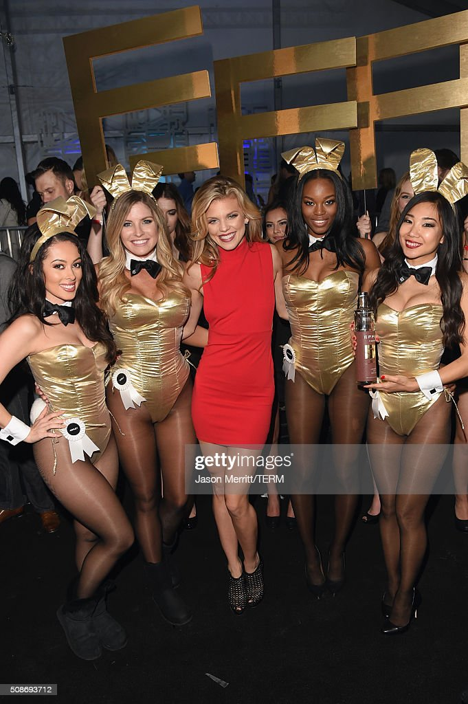 Actress AnnaLynne McCord (C) arrives at the The Playboy Party during Super Bowl Weekend with Playboy Playmates Ashley Doris, Carly Lauren, Eugena Washington and Hiromi Oshima wearing Bunny costumes inspired by the gold detailing on his limited edition EFFEN Vodka football bottle. The Playboy Party celebrated the future of Playboy and its newly redesigned magazine in a transformed space within Lot A of AT&T Park on February 5, 2016 in San Francisco, California.