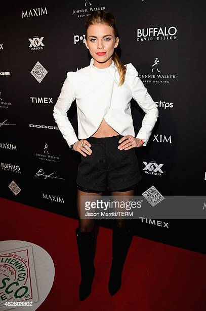 Actress AnnaLynne McCord attends the Maxim Party with Johnnie Walker Timex Dodge Hugo Boss Dos Equis Buffalo Jeans Tabasco and popchips on January 31...