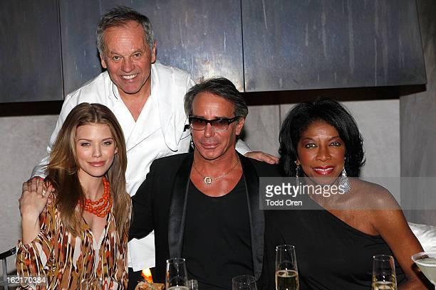 Actress AnnaLynne McCord chef Wolfgang Puck Fashion Designer Lloyd Klein and singer Natalie Cole pose at Fashion Designer Lloyd Klein's birthday...