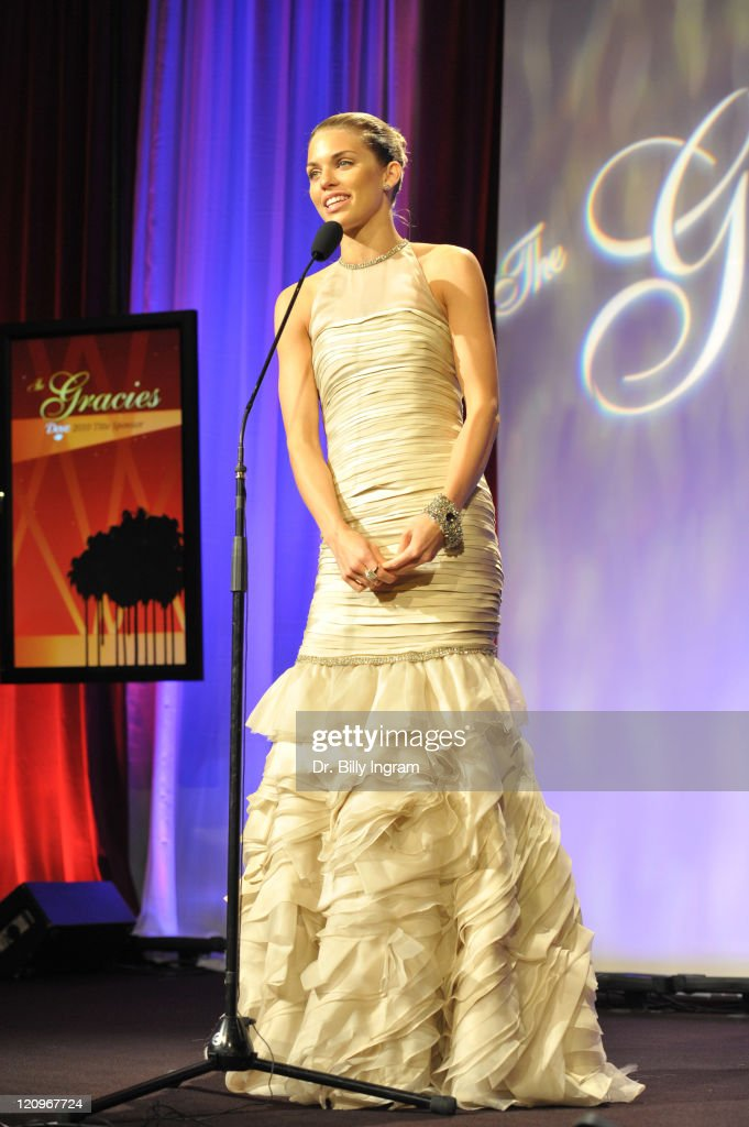 Actress AnnaLynne McCord speaks at the 35th Annual Gracie Awards Gala at The Beverly Hilton hotel on May 25, 2010 in Beverly Hills, California.