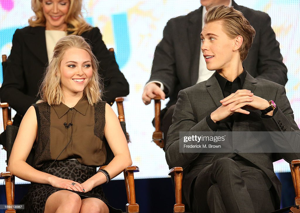 Actress AnnaSophia Robb (L) and actor Austin Butler of the television show 'The Carrie Diaries' speak during the CW Network portion of the 2013 Winter Television Critics Association Press Tour at the Langham Huntington Hotel & Spa on January 13, 2013 in Pasadena, California.
