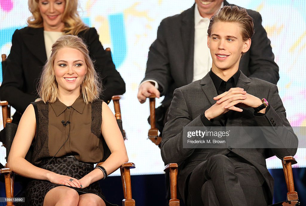 Actress <a gi-track='captionPersonalityLinkClicked' href=/galleries/search?phrase=AnnaSophia+Robb&family=editorial&specificpeople=674007 ng-click='$event.stopPropagation()'>AnnaSophia Robb</a> (L) and actor <a gi-track='captionPersonalityLinkClicked' href=/galleries/search?phrase=Austin+Butler&family=editorial&specificpeople=5626394 ng-click='$event.stopPropagation()'>Austin Butler</a> of the television show 'The Carrie Diaries' speak during the CW Network portion of the 2013 Winter Television Critics Association Press Tour at the Langham Huntington Hotel & Spa on January 13, 2013 in Pasadena, California.