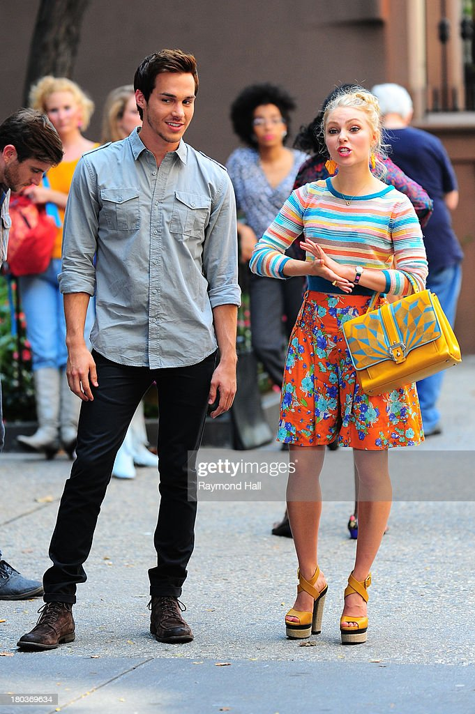 Actress <a gi-track='captionPersonalityLinkClicked' href=/galleries/search?phrase=AnnaSophia+Robb&family=editorial&specificpeople=674007 ng-click='$event.stopPropagation()'>AnnaSophia Robb</a> and <a gi-track='captionPersonalityLinkClicked' href=/galleries/search?phrase=Chris+Wood+-+Actor&family=editorial&specificpeople=13948596 ng-click='$event.stopPropagation()'>Chris Wood</a> is seen on the set of 'The Carrie Diaries'on September 11, 2013 in New York City.