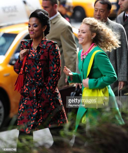 Actress AnnaSophia Robb and Freema Agyeman are seen on the set of 'The Carrie Diaries' on October 8 2013 in New York City