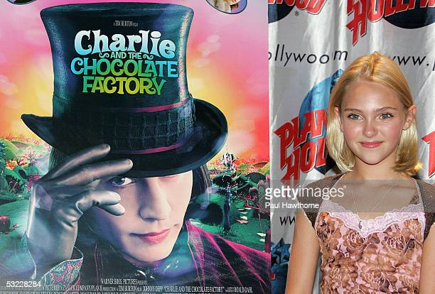 Actress AnnaSophia Robb from the new movie 'Charlie and the Chocolate Factory' hosts a bubble blowing contest at Planet Hollywood July 12 2005 in New...