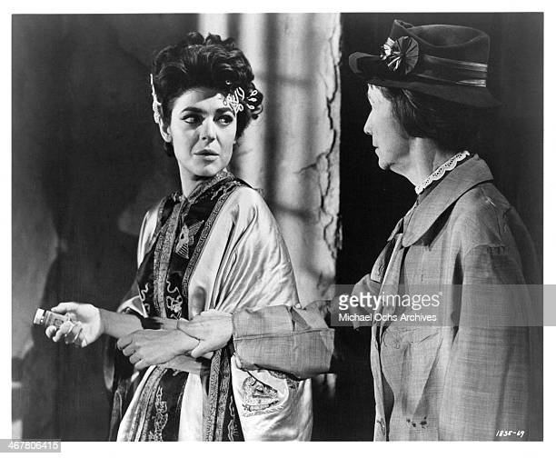 Actress Anne Bancroft and Mildred Dunnock on set of the movie '7 Women' circa 196