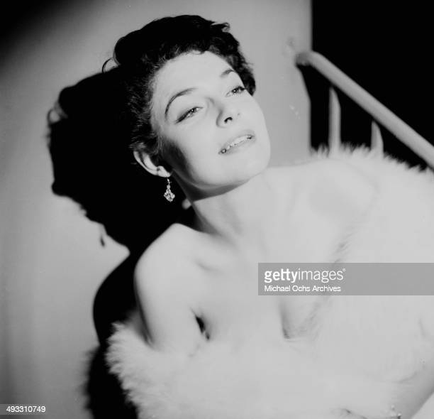 LOS ANGELES CALFORNIA DECEMBER 12 1953 Actress Anne Bancroft poses at her home in Los Angeles California