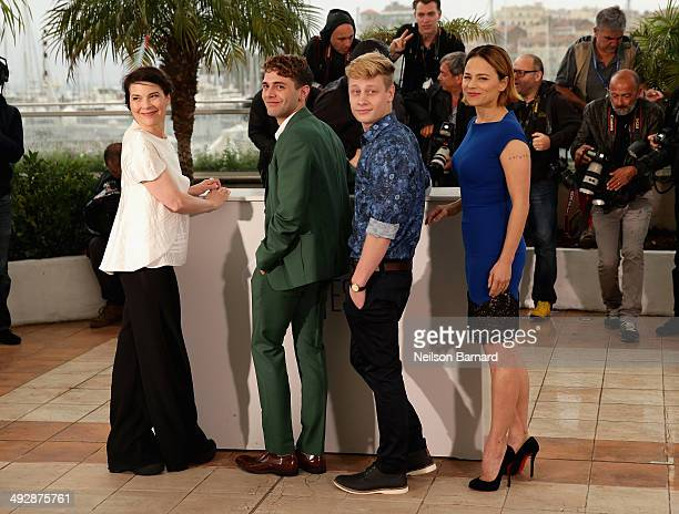 Actress Anne Dorval director Xavier Dolan and actors Olivier Pilon and Suzanne Clement attend the 'Mommy' photocall during the 67th Annual Cannes...