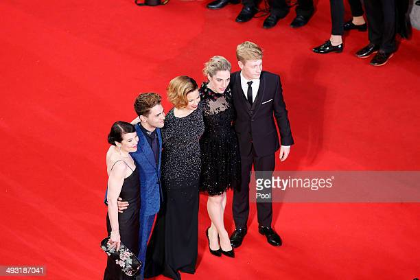 Actress Anne Dorval director Xavier Dolan Suzanne Clement Nancy Grant and actor Olivier Pilon attend the 'Mommy' premiere during the 67th Annual...