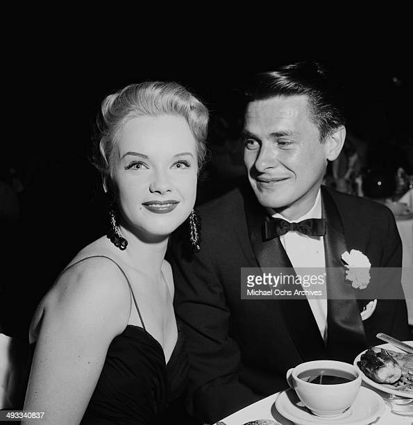 Actress Anne Francis attends the Makeup Artist Ball with Norman Dupont in Los Angeles California