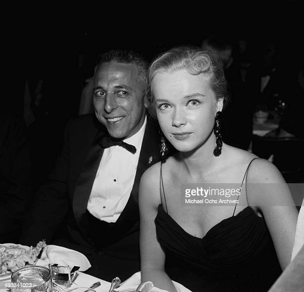 Actress Anne Francis with Herman Hoffman attend the Screen Directors Dinner in Los Angeles California