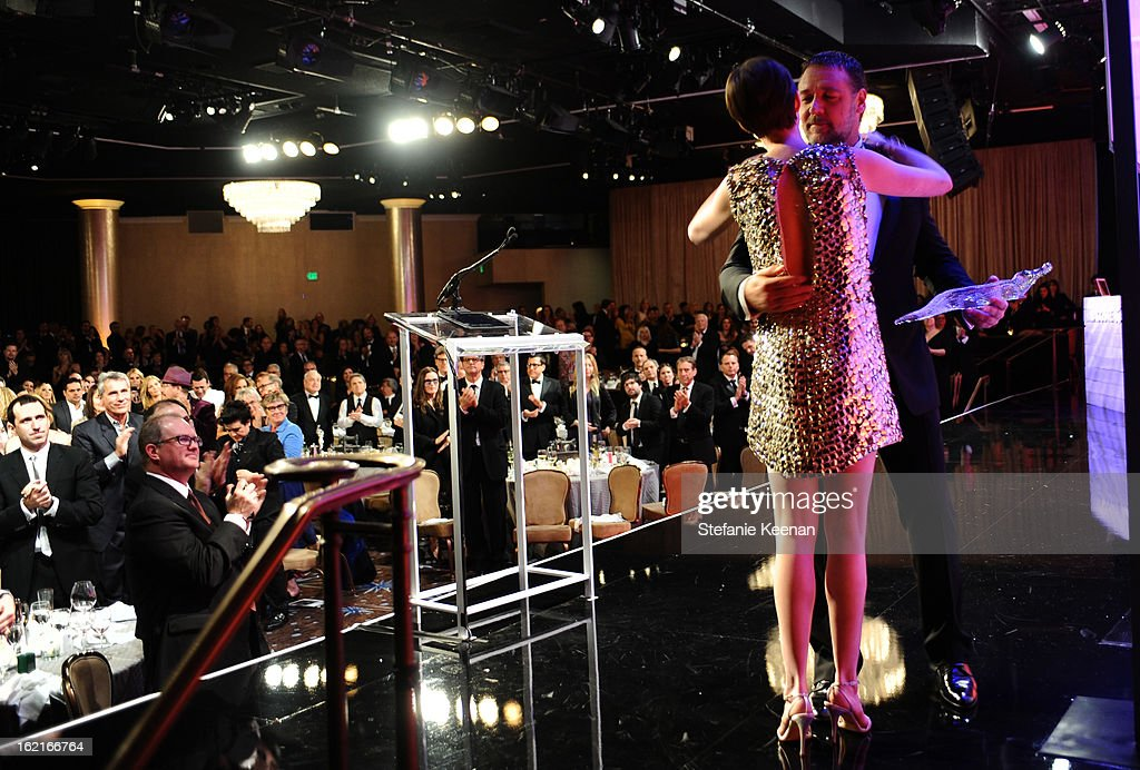 Actress Anne Hathaway accepts the Lacoste Spotlight Award during the 15th Annual Costume Designers Guild Awards with presenting sponsor Lacoste at The Beverly Hilton Hotel on February 19, 2013 in Beverly Hills, California.