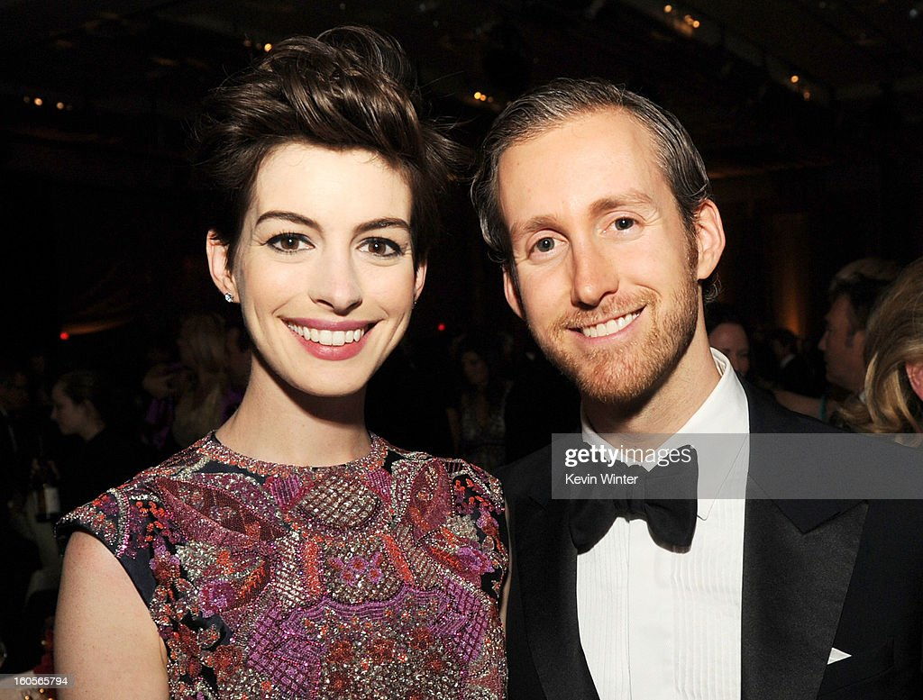 Actress Anne Hathaway (L) and actor Adam Shulman attend the 65th Annual Directors Guild Of America Awards at Ray Dolby Ballroom at Hollywood & Highland on February 2, 2013 in Los Angeles, California.