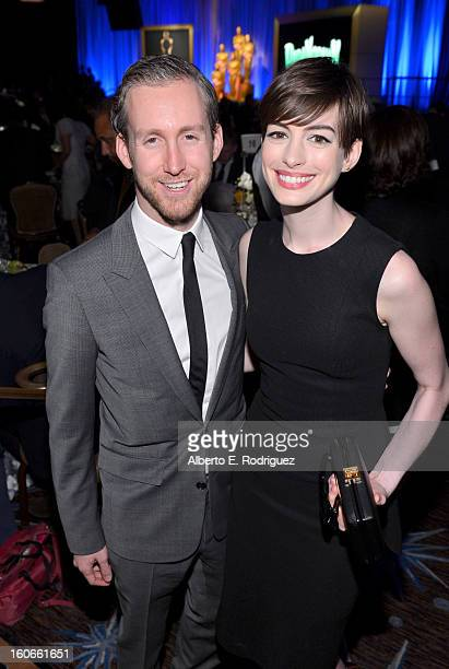 Actress Anne Hathaway and actor Adam Shulman attend the 85th Academy Awards Nominations Luncheon at The Beverly Hilton Hotel on February 4 2013 in...