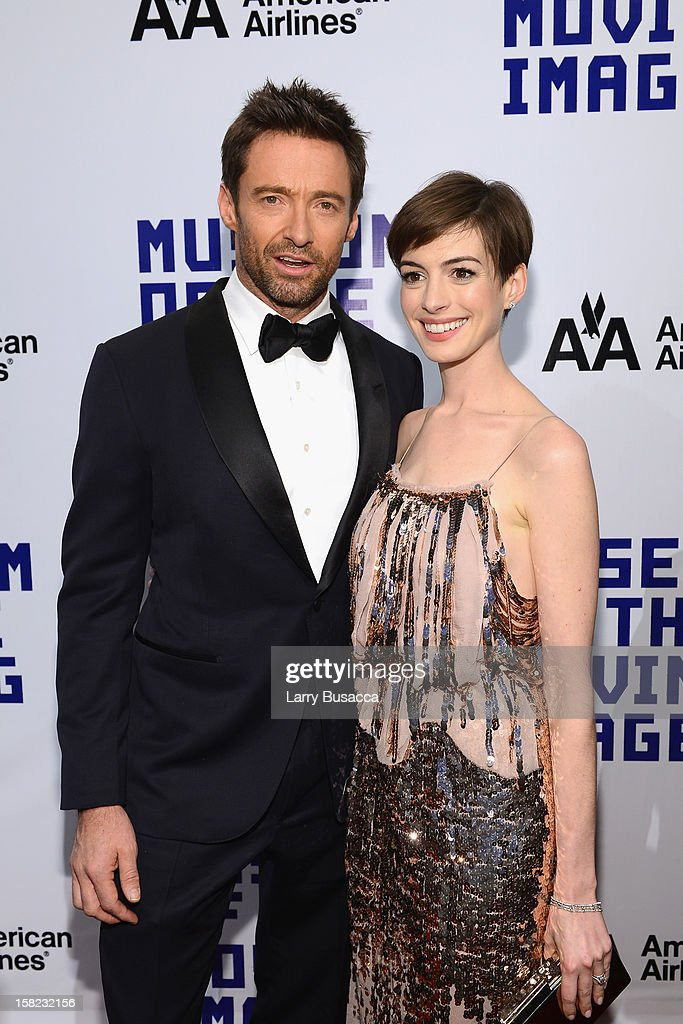 Actress Anne Hathaway and actor Hugh Jackman attend the Museum of Moving Images salute to Hugh Jackman at Cipriani Wall Street on December 11, 2012 in New York City.