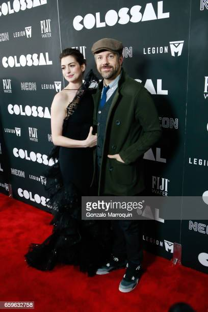 Actress Anne Hathaway and actor Jason Sudeikis attended the 'Colossal' New York Premiere at AMC Lincoln Square Theater on March 28 2017 in New York...