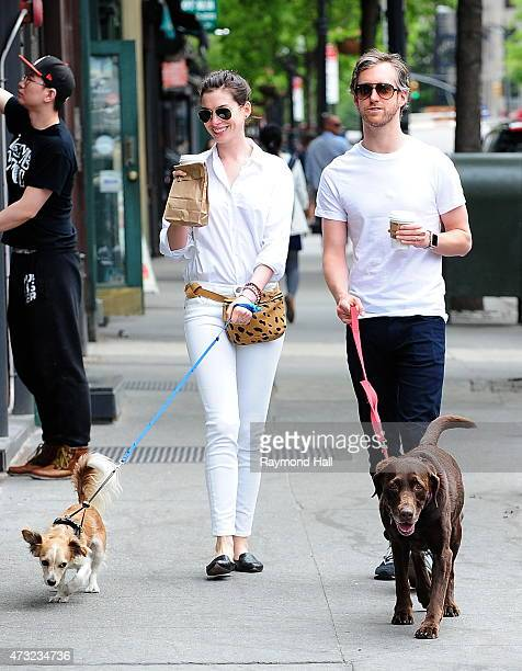 Actress Anne Hathaway and Adam Shulman are seen walking in SoHo on May 13 2015 in New York City