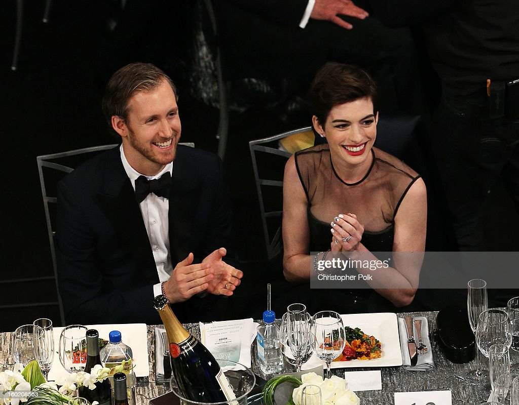 Actress Anne Hathaway (R) and Adam Shulman attend the 19th Annual Screen Actors Guild Awards at The Shrine Auditorium on January 27, 2013 in Los Angeles, California. (Photo by Christopher Polk/WireImage) 23116_012_1027.jpg