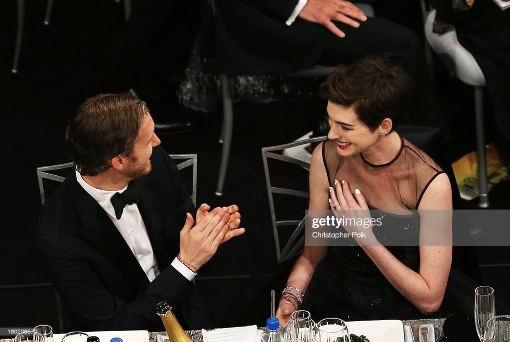 Actress Anne Hathaway (R) and Adam Shulman attend the 19th Annual Screen Actors Guild Awards at The Shrine Auditorium on January 27, 2013 in Los Angeles, California. (Photo by Christopher Polk/WireImage) 23116_012_1089.jpg